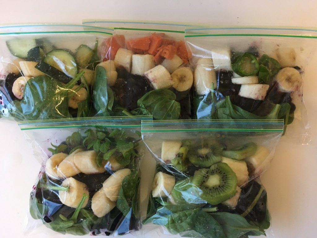 Smoothie Kits with blueberries, bananas, spinach and extras
